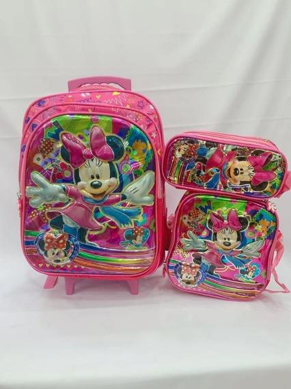 Kit Mochila Minnie Mouses Infantil De Rodinhas 2 Em1 6d