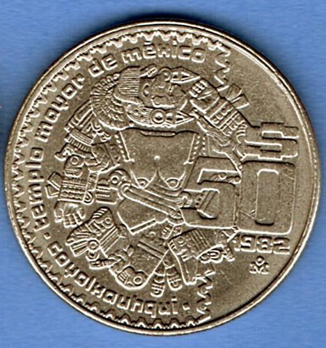 Imagen 1 de 4 de Moneda Antigua50 Pesos Coyolxauhqui 1984 O 1982 Templo Mayor