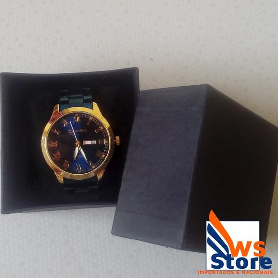 Relógio De Luxo Masculino Dourado/azul