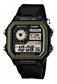 Relogio Casio Ae-1200whb-1 Verde Quadrado Timer Crono
