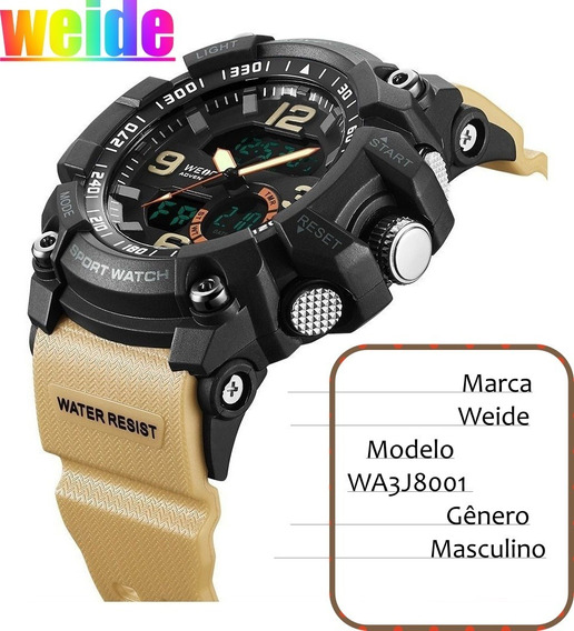 Relógio Masculino Weide Anadigi Wa3j8001 - Preto E Bege