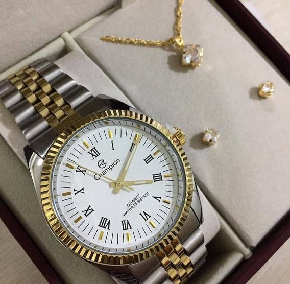 Kit Relógio Champion Dourado E Prata Feminino Ch22859d Misto