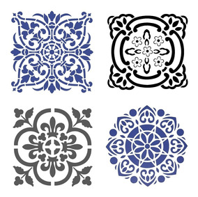 Stencil Molde Vazado Mandala 4 Peças A4 - Frete Barato
