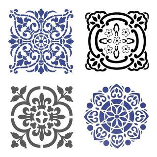 Stencil Molde Vazado Mandala 4 Peças A4