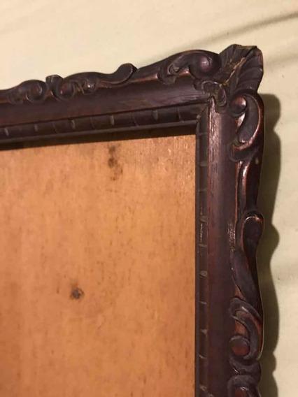 Porta Retrato Antigo Madeira Entalhado