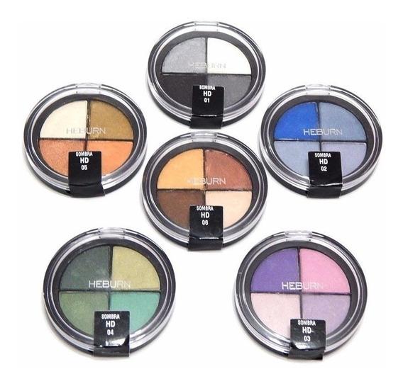 Sombra Compacta X4 Cuarteto Hd Heburn Maquillaje Profesional