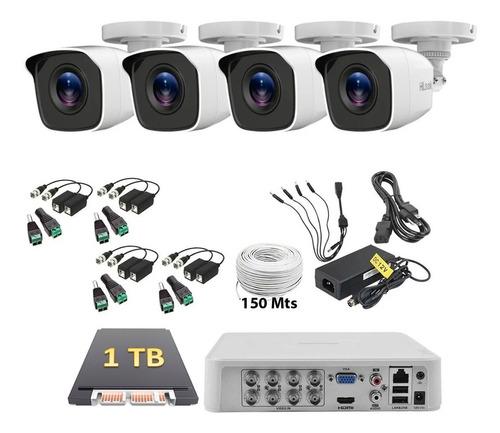 Imagen 1 de 6 de Kit Cctv Hikvision 4 Camaras 1080p 2mp 1tb 150m Baluns Dvr 8