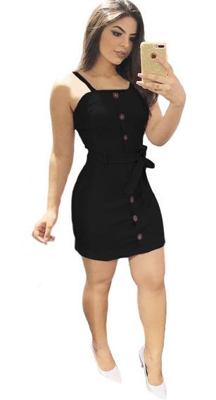 Vestido Preto Simples Com Botão Botões Lançamento Blogueira