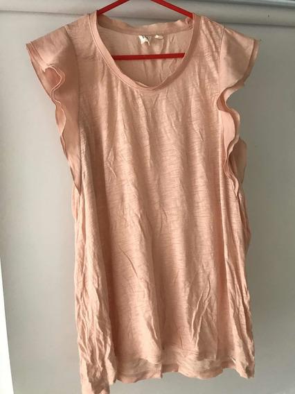 Remera C/ Volados Gap Talle M Mujer Rosa Usada