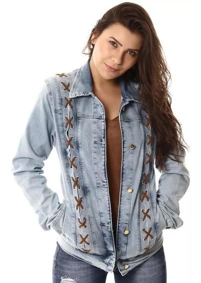 Jaqueta Jeans Sawary Feminina Azul Delavê Pronta Entrega