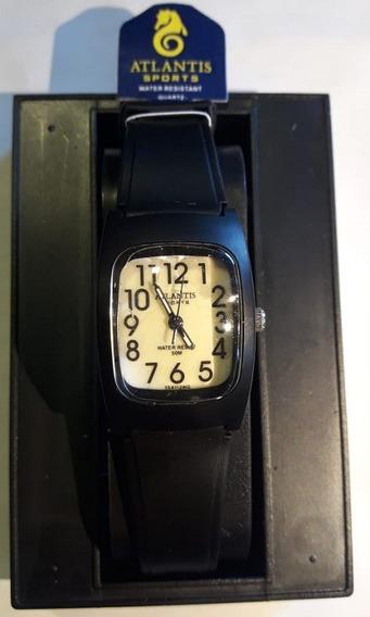 Relógio Atlantis 5541w Preto Fundo Bege Feminino - Original