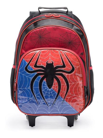 Mochila De Rodinhas Spider Infantil Reforçada Escolar Menino