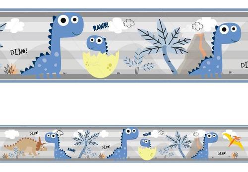 Imagem 1 de 1 de 2 Faixa Adesivo De Parede Borda Decorativo Dinossauro Nome