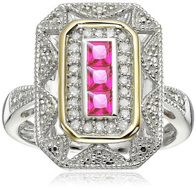 Anel Feminino Prata + Banho Ouro Turmalina Rosa Cristal 589