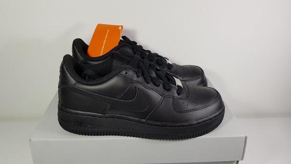 Nike Airforce 1 Preto Tenis De Couro Tam 34 Original