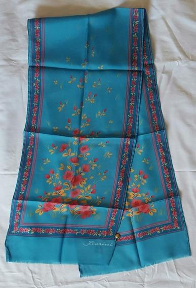 Pañuelo Italiano Fiorini, Azul Claro Y Flores Sin Uso