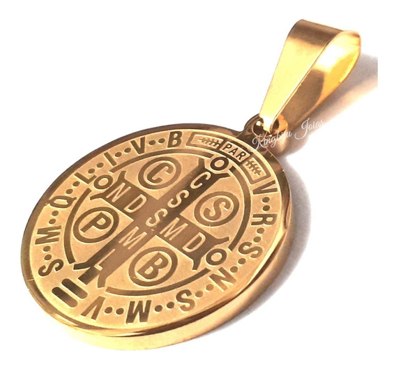 Medalha São Bento Dupla Face + Cordão 60 Cm Aço Inox Banhado