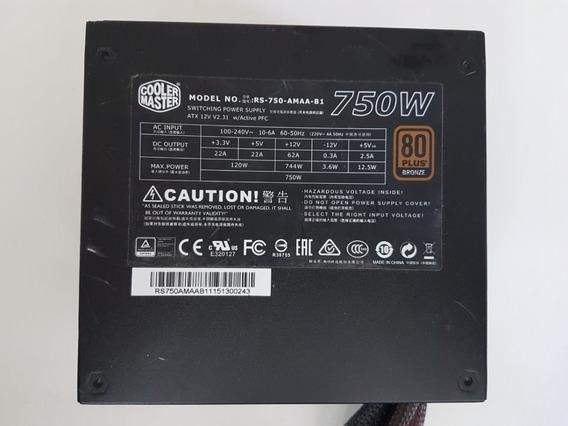 Fonte Cooler Master 750 W 80 Plus (leia A Descrição)
