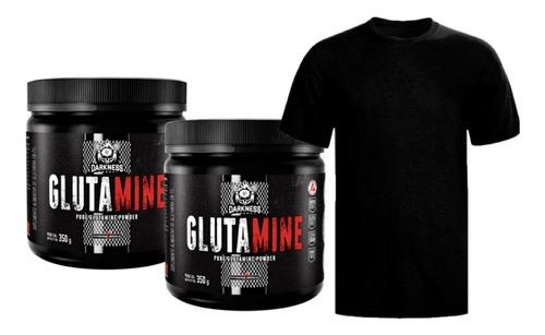 2x Glutamina 350g Darkness Integral Médica + Camiseta