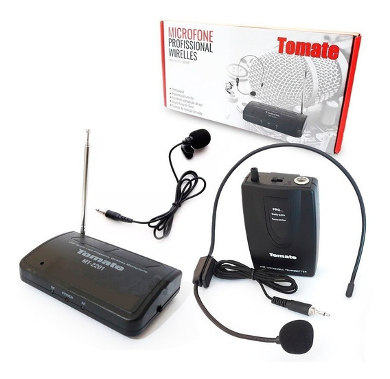 Microfone Lapela Sem Fio Wireless Headset Tomate Mt-2201 +nf