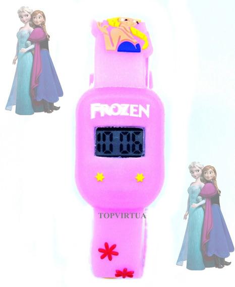 Relógio Frozen Rosa Bebê Quadrado Digital Infantil P. D
