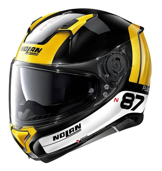 Casco Nolan N87 Plus Distinctive N-com 27 Ngo / Oro / Blanco