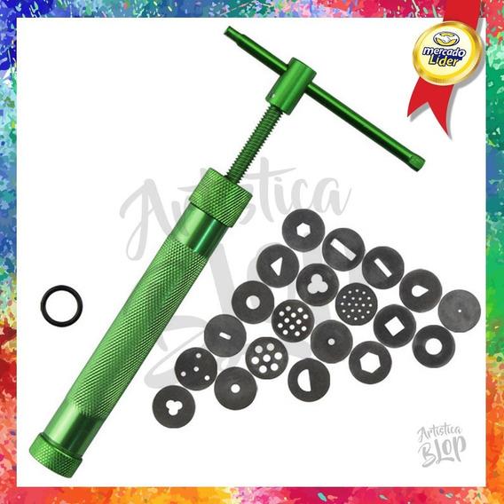 Pistola Eyector Extrusor Acero Set 20 Discos Intercambiables Repostería Ceramica Alfareria