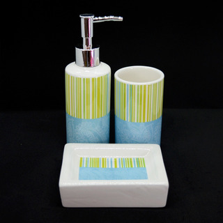 Set Accesorios P/baño 3 Pzas Cerámica Dispenser Jabonera