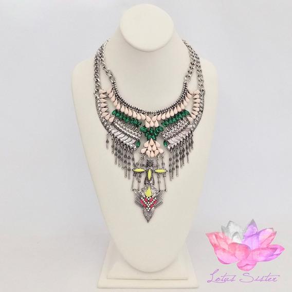 Maxi Collar Plateado Con Piedras Multicolor De Resina (pz)