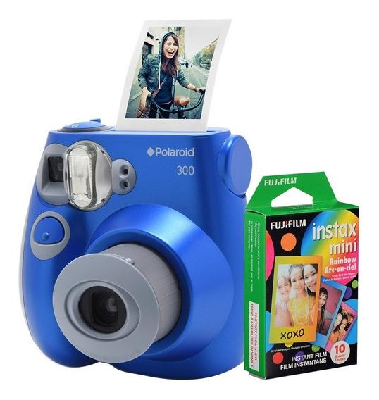 Câmera Polaroid Instantânea Pic 300 Azul C/ Filme 10 Poses
