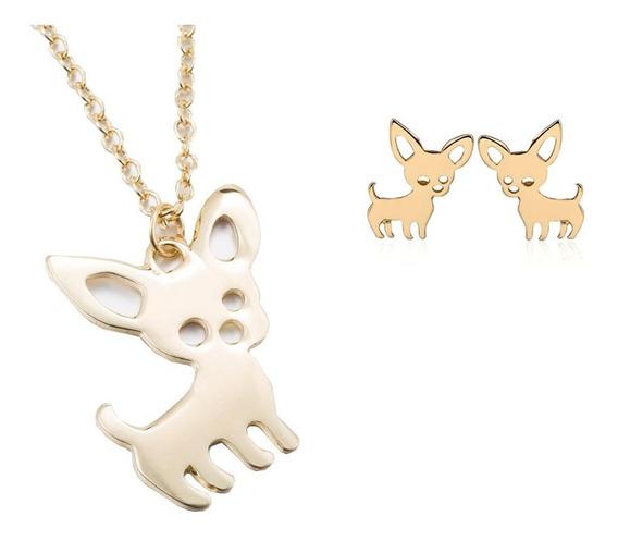 Juego Collar Aretes Perro Chihuahua Dije Accesorios Set