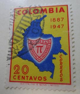 Sociedad Colombiana De Ingenieros Estampilla Antigua