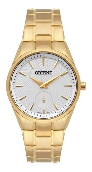 Relógio Dourado Feminino Orient Fundo Branco Com Cristais