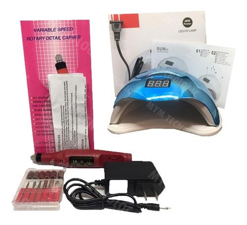 Kit Pulidor De Uñas Rojo 110-240v + Lámpara Uv Secadora Uñas