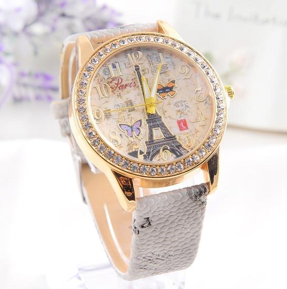 Relógio Feminino Paris Borboleta Flores Charmoso Cinza