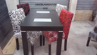 Mesa Color Negro De 1,40 X 0.80 + 4 Sillas De Chenille
