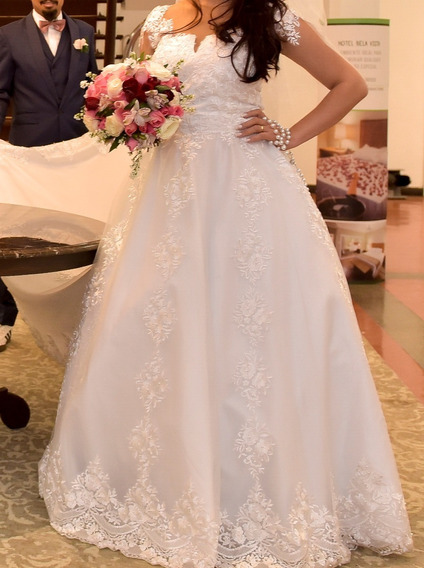Vestido De Noiva Usado 1 Vez/ Completo/ Longo