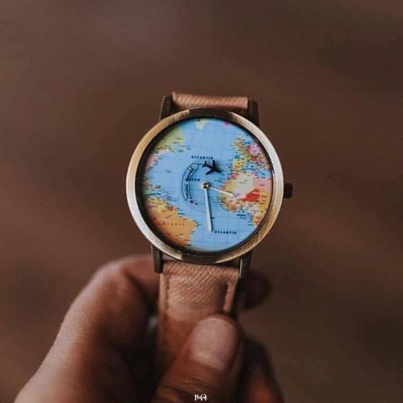 Reloj Unisex Mapa Vintage Mundo Avión
