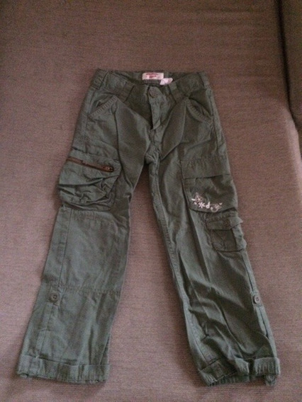 Pantalon Cargo Oshkosh Verde Militar Nena 5 O 6 Años Impecab