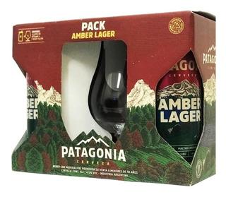 Cerveza Patagonia Pack 4 Latas Amber + 1 Vaso Tulipa