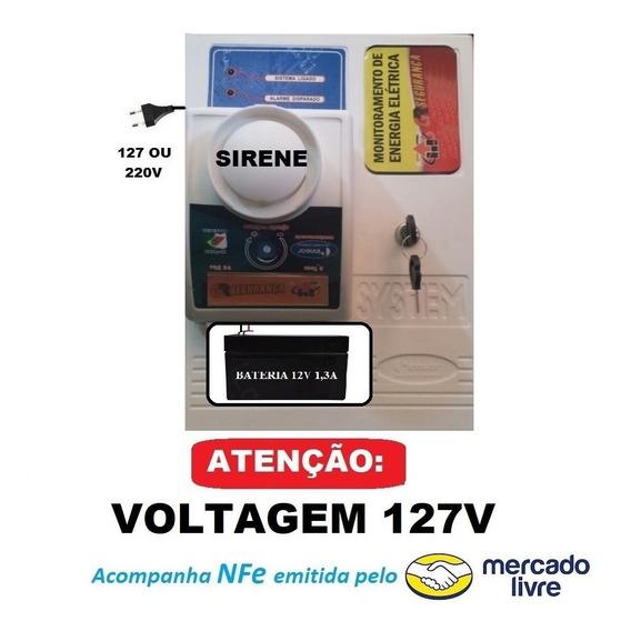 Alarme Sonoro Regulável P/ Falta Energia Elétrica + Bateria