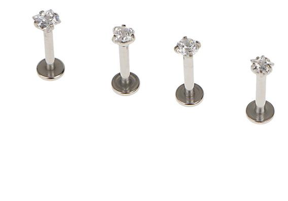 4pcs 316l Aço Zircão Cartilagem Tragus Lábio Brinco De Pr