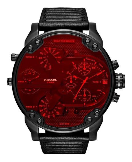 Relógio Diesel Dz7402 Mr Daddy 2.0 Black Red Caixa Manual