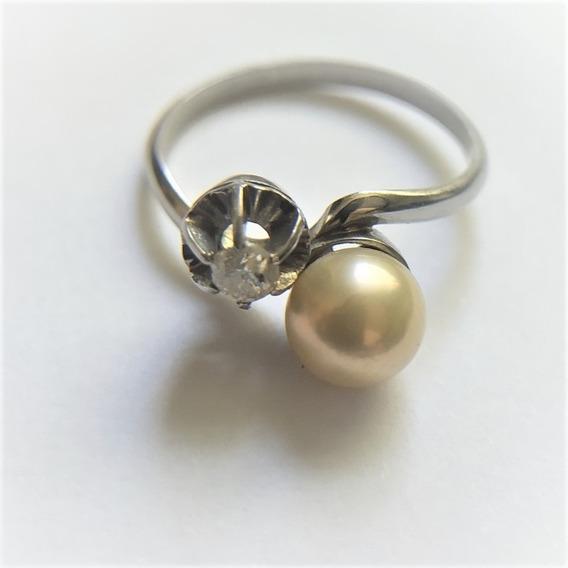 Anel Romeu E Julieta Em Ouro Branco 18k C/ Diamante E Pérola
