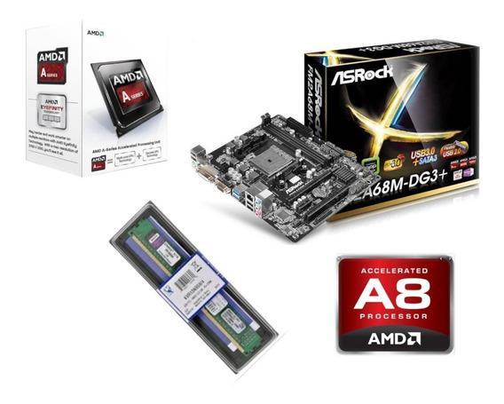 Kit Gamer A8 7680 Amd Fm2+ A68m-dg3 + Ddr3 8 Gb Memoria