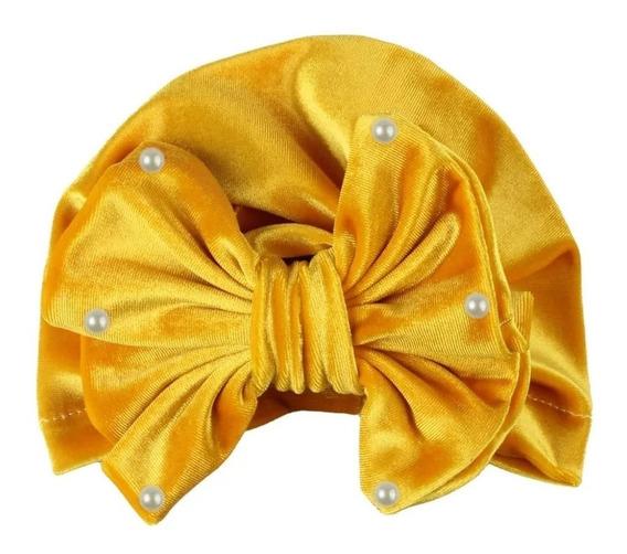 Turbante Para Niñas Y Bebés Con Moño Y Perlas De Terciopelo