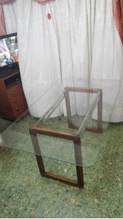 Vendo Mesa Moderna De Vidrio Templado Y Patas De Madera