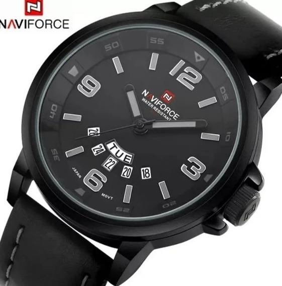 Relógio Masculino Naviforce Original De Couro Oferta C.55
