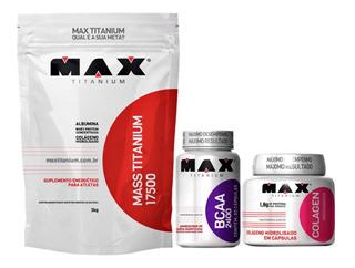 Mass Titanium 3kg Max + Bcaa 60 Cáp Max + Colágeno 100 Cáps