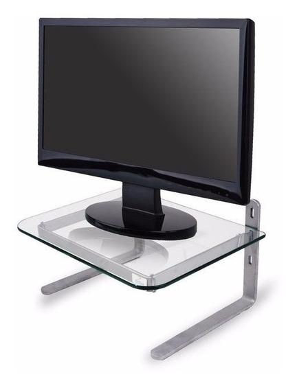 Suporte Monitor Office - Prata / Vidro Incolor Reliza